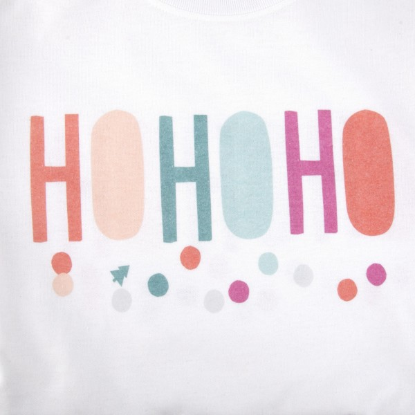 HOHOHO Multi Christmas Graphic Tee.  - Printed on a Giladan Dryblend Brand Tee - Multicolor Graphic on a White Tee - 6 Shirts Per Pack - 1-S / 2-M / 2-L / 1-XL - 50% Cotton / 50% Polyester