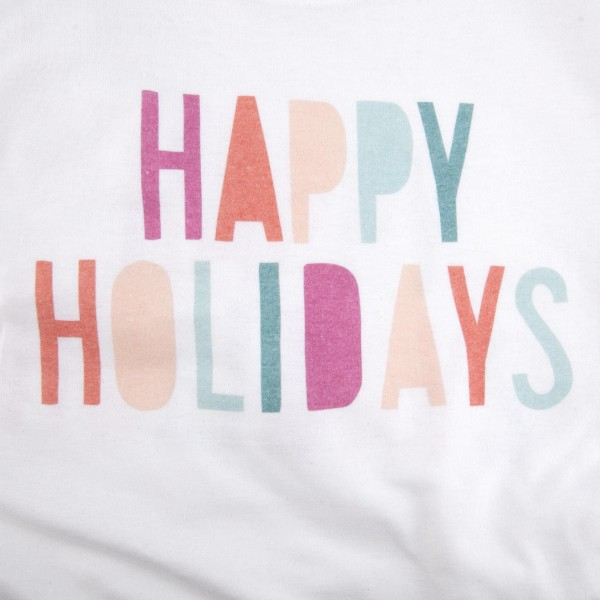 Happy Holiday's Graphic Tee.  - Printed on a Gildan Dryblend Brand Tee - Multicolor Graphic on a White Tee - 6 Shirts Per Pack - 1-S / 2-M / 2-L / 1-XL - 50% Cotton / 50% Polyester