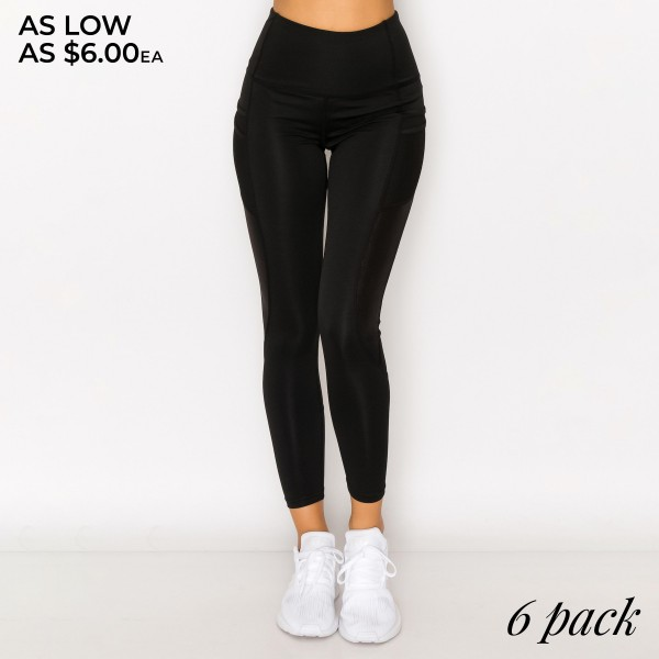 """Women's Active Tech Pocket Workout Leggings Featuring PU Leather Detail. (6 Pack)  - 4.5"""" Elastic Waistband - Two Functional Tech Style Pockets - PU Leather Detailing  - Cool and Comfortable Material - 6 Pair Per Pack - Sizes: 1-S / 2-M / 2-L / 1-XL  - Inseam 24"""" Long  - 92% Polyester / 8% Spandex"""