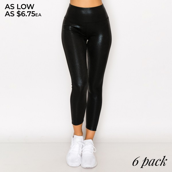 "Women's Active (Front Sided) Black Metallic Snakeskin Leggings. (6 Pack)  - 4"" Elastic Waistband - Hidden Waistband Back Pocket - Front Side Snakeskin Print  - 6 Pair Per Pack - Sizes: 1-S / 2-M / 2-L / 1-XL - Inseam 24"" Long  - 92% Polyester / 8% Spandex"