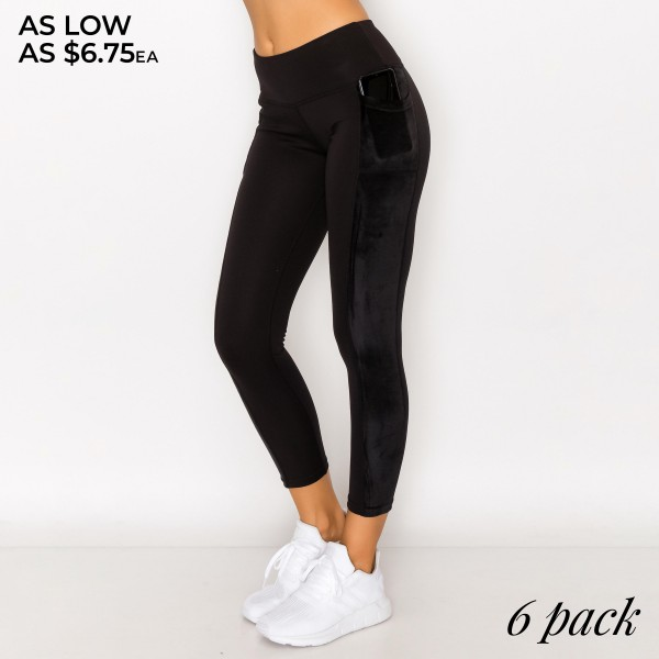 """Women's Active Fleece Lined Velour Tech Pocket Leggings. (6 Pack)  - 3.5"""" Elastic Waistband - Two Functional Tech Style Pockets - Fleece Lined - Velvet Detail - 6 Pair Per Pack - Sizes: 1-S / 2-M / 2-L / 1-XL - Inseam approximately 27"""" Long - 92% Polyester / 8% Spandex"""