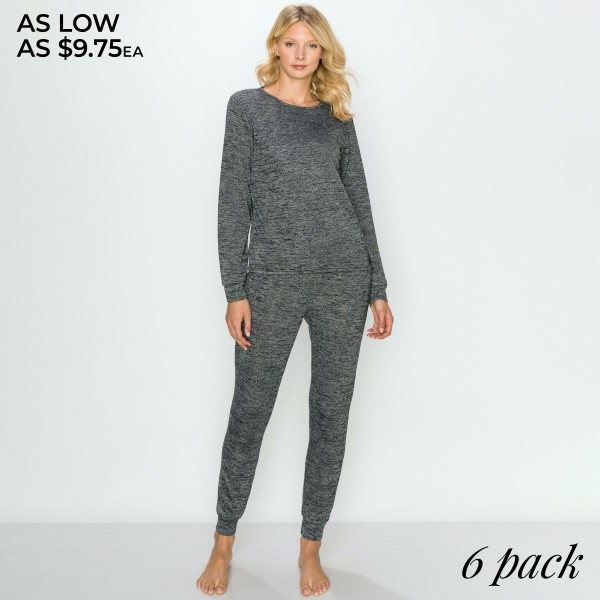 "Women's Heather Knit Jogger Loungewear Set. (6 Pack) SET*  - 1.5"" Elastic Drawstring Waistband  - Thin Knit Cuffed Jogger Style with Pockets - Thin Knit Long Sleeve Tunic Style Top - Relaxed Loose Fit - Includes: Top and Pants - 6 Sets Per Pack - Sizes: 2-S / 2- M / 2-L  - Pant Inseam 27"" Long - 92% Polyester / 8% Spandex"