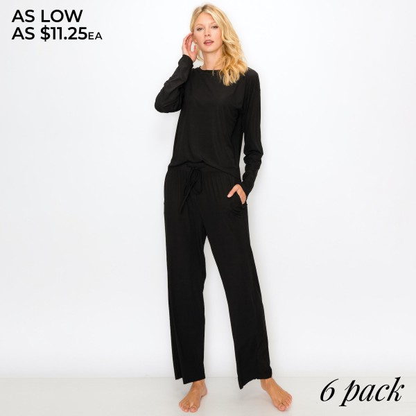 "Women's Jersey Ribbed Loungewear Set Featuring Pockets. (6 Pack) SET*  - 1"" Elastic Drawstring Waistband - Relaxed Loose Fit - Includes: Top and Pants - 6 Sets Per Pack - Sizes: 1-S / 2-M / 2-L / 1-XL - Pant Inseam 28"" Long  - 92% Polyester / 8% Spandex"