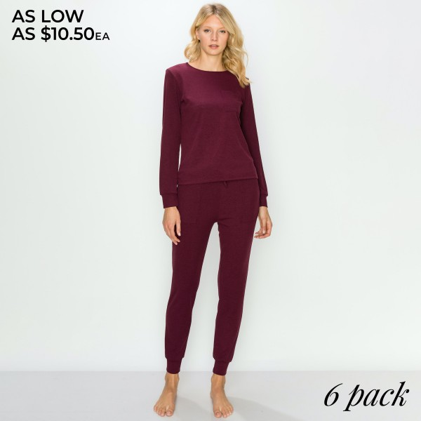 "Women's Long Sleeve Pocket Tee Loungewear Set. (6 Pack) SET*  - 2"" Elastic Drawstring Waistband - Thin Knit Cuffed Jogger Style Pant with Pockets - Thin Knit Long Sleeve Pocket Tee - Relaxed Fit - Includes: Top and Pants - 6 Sets Per Pack - Sizes: 2-S / 2-M / 2-L  - Pant Inseam 27"" Long  - 92% Polyester / 8% Spandex"