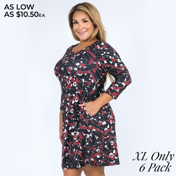 """Women's Plus Size Geometric Animal Print Swing Dress Featuring Pockets.(6 Pack) (XL ONLY)  • 3/4 length sleeves and round neckline • Geometric cheetah print • Two side pockets keep your hands warm • Swing a-line silhouette • Knee-length hem • Soft, stretchy and comfortable fabric • Pullover styling • Imported  - Pack Breakdown: 6 Dresses Per Pack - Sizes: ALL 6 XL  - Approximately 34"""" L - 95% Polyester / 5% Spandex"""