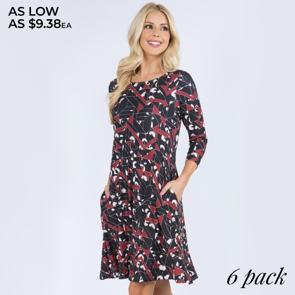 """Women's Geometric Animal Print Swing Dress Featuring Pockets. (6 Pack)  • 3/4 length sleeves, round neck • Two open side pockets • Fit and flare swing silhouette • Knee length hem • Soft and stretchy • Imported  - Pack Breakdown: 6 Dresses Per Pack - Sizes: 2-S / 2-M / 2-L  - Approximately 34"""" L - 95% Polyester / 5% Spandex"""