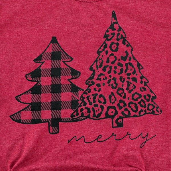 Merry Leopard Christmas Tree Graphic Tee.  - Printed on a Gildan Softstyle Brand Tee - Color: Red - 6 Shirts Per Pack - 1-S / 2-M / 2-L / 1-XL - 90% Polyester / 10% Cotton
