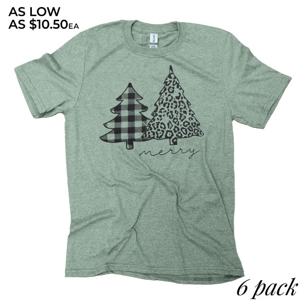 Merry Leopard Christmas Tree Graphic Tee.  - Printed on a Gildan Softstyle Brand Tee - Color: Olive Green - 6 Shirts Per Pack - 1-S / 2-M / 2-L / 1-XL - 65% Polyester / 35% Cotton