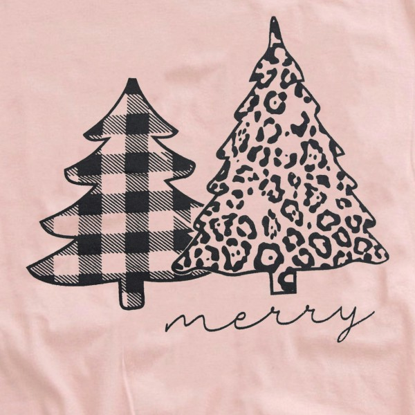 Merry Leopard Christmas Tree Graphic Tee.  - Printed on a Anvil Lightweight Brand Tee - Color: Pink - 6 Shirts Per Pack - 1-S / 2-M / 2-L / 1-XL - 100% Cotton