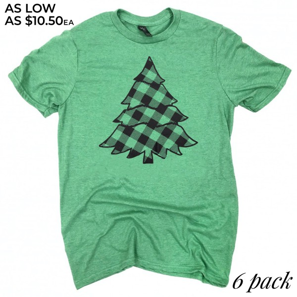 Plaid Christmas Tree Graphic Tee.  - Printed on a Anvil Lightweight Brand Tee - Color: Green  - 6 Shirts Per Pack - 1-S / 2-M / 2-L / 1-XL - 65% Polyester / 35% Cotton