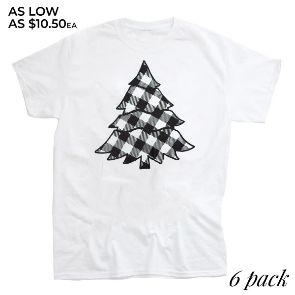 Plaid Christmas Tree Graphic Tee.  - Printed on a Anvil Lightweight Brand Tee - Color: White - 6 Shirts Per Pack - 1-S / 2-M / 2-L / 1-XL - 65% Polyester / 35% Cotton