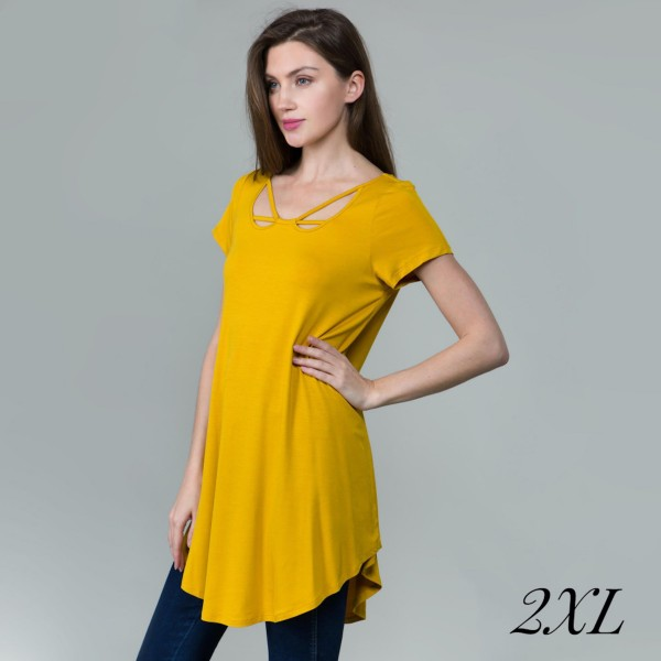 Women's Plus Size Mustard Tunic Top Featuring Criss Cross V Neckline Detail.  - Criss Cross V Neck Detail - Short Sleeve; Plus Size - Mustard - Size: 2XL - 95% Rayon / 5% Spandex