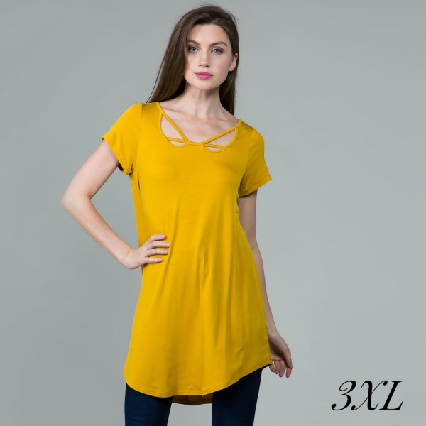 Women's Plus Size Mustard Tunic Top Featuring Criss Cross V Neckline Detail.  - Criss Cross V Neck Detail - Short Sleeve; Plus Size - Mustard - Size: 3XL - 95% Rayon / 5% Spandex