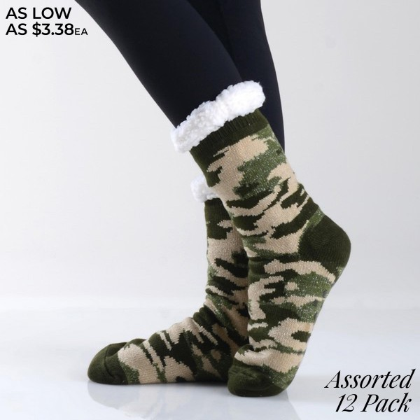 Assorted Glittery Camouflage Knit Sherpa Socks. (12 Pack)  • Unique, pattern designs on exterior • Reinforced toe seam • Thick • Breathable • Rubber dot traction bottom • Plush faux sherpa lining • Imported  - 12 Pair of Socks Per Pack - Size: Adult 9-11 - 50% Acrylic / 45% Polyester / 5% Spandex