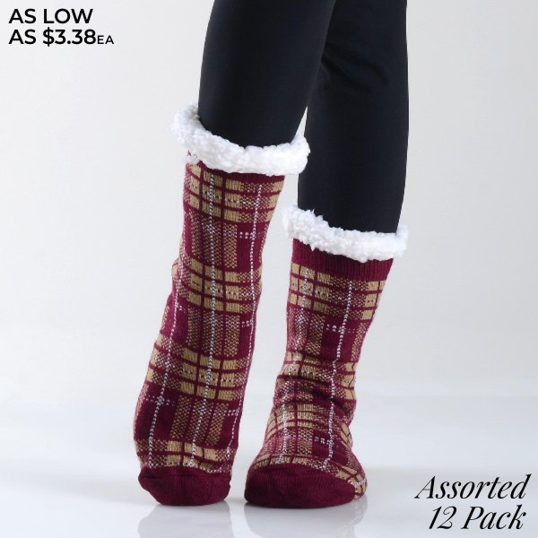 Assorted Plaid Print Sherpa Socks. (12 Pack)  • Unique, pattern designs on exterior • Reinforced toe seam • Thick • Breathable • Rubber dot traction bottom • Plush faux sherpa lining • Imported  - 12 Pair Per Pack - 6 Assorted Colors - Size: Adults 9-11 - 40% Acrylic, 60% Polyester