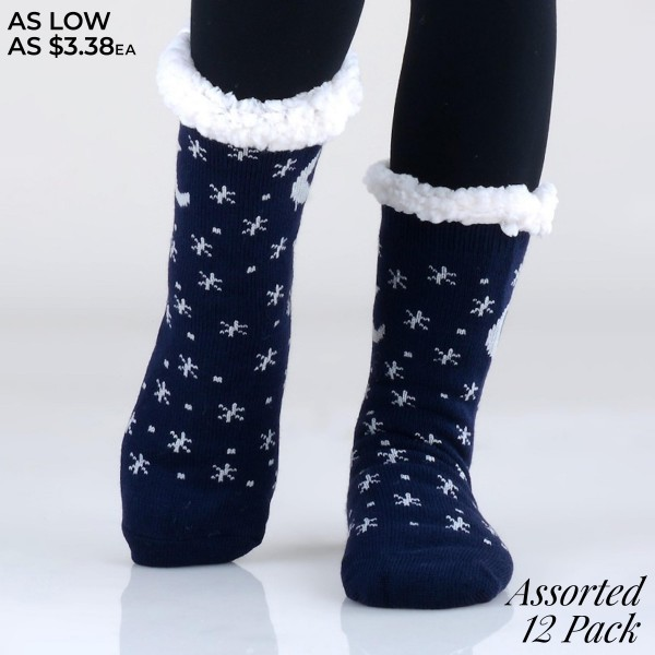 Assorted Christmas Holiday Knit Sherpa Socks. (12 Pack)   • Unique, pattern designs on exterior • Reinforced toe seam • Thick • Breathable • Rubber dot traction bottom • Plush faux sherpa lining • Imported   - 12 Pair of Socks Per Pack - Sizes: Adult 9-11 - 50% Acrylic / 45% Polyester / 5% Spandex