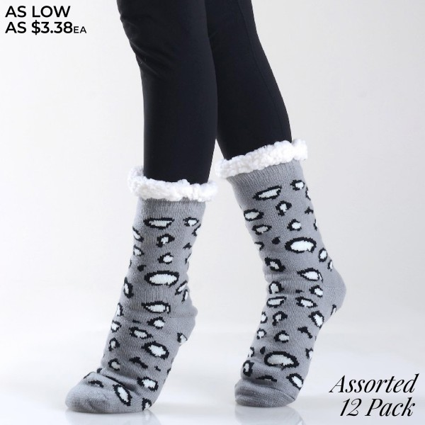 Assorted Leopard Print Knit Sherpa Socks. (12 Pack)  - Unique, pattern designs on exterior - Reinforced toe seam - Thick - Breathable - Rubber dot traction bottom - Plush faux sherpa lining - Imported  - 12 Pair Per Pack - 6 Assorted Colors - Size: Adults 9-11 - 40% Acrylic, 60% Polyester