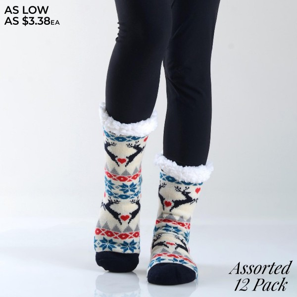 Women's Assorted Christmas Print Sherpa Socks. (12 Pack)  • Unique, pattern designs on exterior • Reinforced toe seam • Thick • Breathable • Rubber dot traction bottom • Plush faux sherpa lining • Imported  - 12 Pair Per Pack - 6 Assorted Colors - Size: Adult 9-11 - 40% Acrylic, 60% Polyester