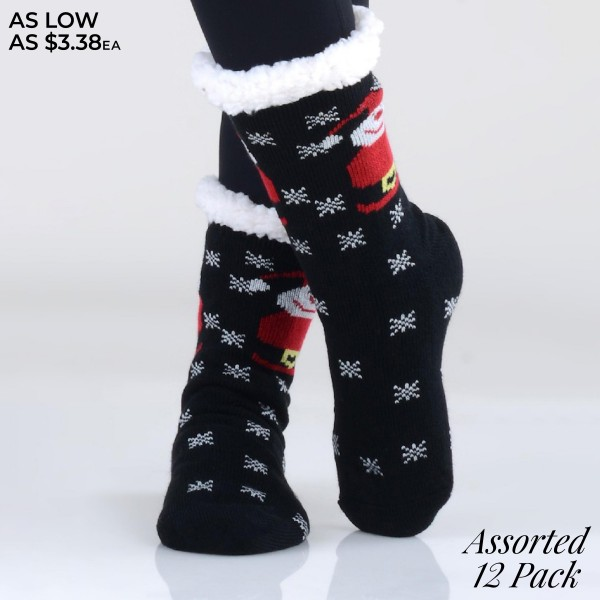 Women's Assorted Christmas Print Sherpa Socks. (12 Pack)   • Unique, pattern designs on exterior • Reinforced toe seam • Thick • Breathable • Rubber dot traction bottom • Plush faux sherpa lining • Imported  - 12 Pair Per Pack - 6 Assorted Colors/Prints - Size: Adult 9-11 - 40% Acrylic, 60% Polyester