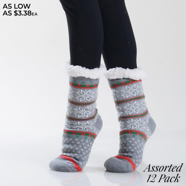 Women's Assorted Christmas Snowflake Print Sherpa Socks. (12 Pack)   • Unique, snowflake pattern designs on exterior • Reinforced toe seam • Thick • Breathable • Rubber dot traction bottom • Plush faux sherpa lining • Imported  - 12 Pair Per Pack - 5 Assorted Colors - Size: 9-11 - 40% Acrylic, 60% Polyester