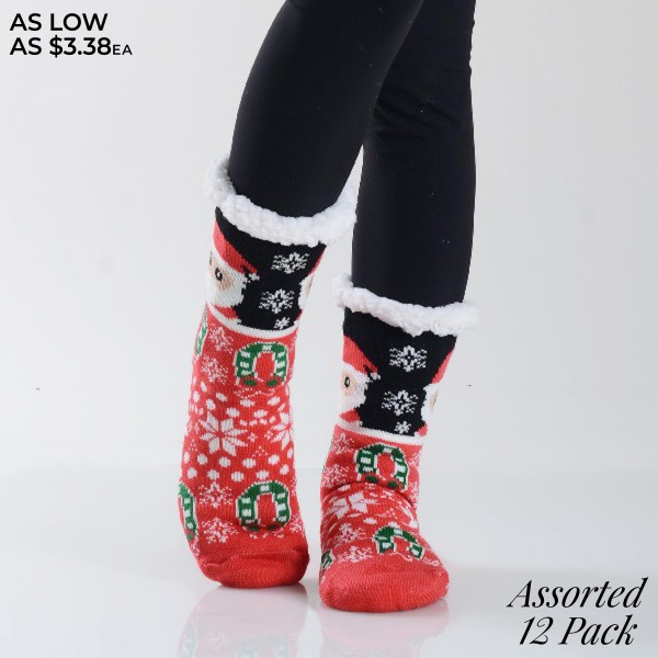 Women's Assorted Christmas Santa Print Sherpa Socks. (12 Pack)  • Unique, pattern santa designs on exterior • Reinforced toe seam • Thick • Breathable • Rubber dot traction bottom • Plush faux sherpa lining • Imported  - 12 Pair Per Pack - 6 Assorted Colors  - Size: Adult 9-11 - 40% Acrylic, 60% Polyester