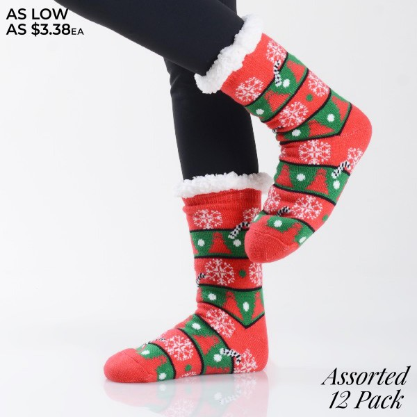Women's Assorted Christmas Tree Print Sherpa Socks. (12 Pack)  • Christmas tree pattern designs on exterior • Reinforced toe seam • Thick • Breathable • Rubber dot traction bottom • Plush faux sherpa lining • Imported  - 12 Pair Per Pack - 6 Assorted Colors - Size: Adult 9-11 - 40% Acrylic, 60% Polyester