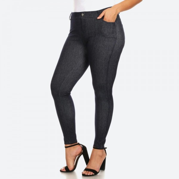 "Women's Navy Plus Size Faded Style Jeggings with Pockets. (6 Pack) (XL ONLY)*  • Faux front button closure • Mid rise • 5 Pockets • Faded color accents • Skinny leg • Super soft, stretchy • Pull up styling • Imported  - Pack Breakdown: 6 Pair Per Pack - Sizes: ALL 6 L/XL  - Inseam approximately 28"" L - 60% Cotton, 33% Polyester, 7% Spandex"