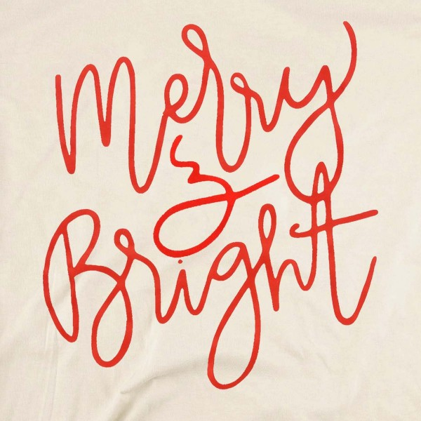 Merry & Bright Christmas Graphic Tee.  - Printed on a Gildan Heavy Cotton Brand Tee - Color: Natural  - 6 Shirts Per Pack - 1-S / 2-M / 2-L / 1-XL - 100% Cotton