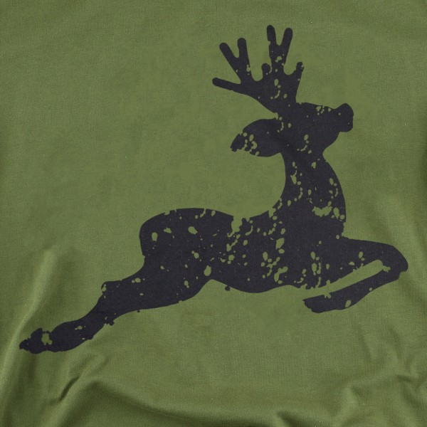 Distressed Reindeer Christmas Graphic Tee.  - Printed on a Bella Canvas Brand Tee - Color: Olive Green  - 6 Shirts Per Pack - 1-S / 2-M / 2-L / 1-XL - 100% Cotton