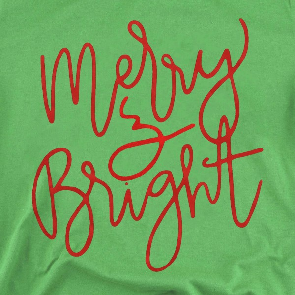 Merry & Bright Christmas Graphic Tee.  - Printed on a Anvil Lightweight Brand Tee - Color: Green - 6 Shirts Per Pack - 1-S / 2-M / 2-L / 1-XL - 100% Cotton