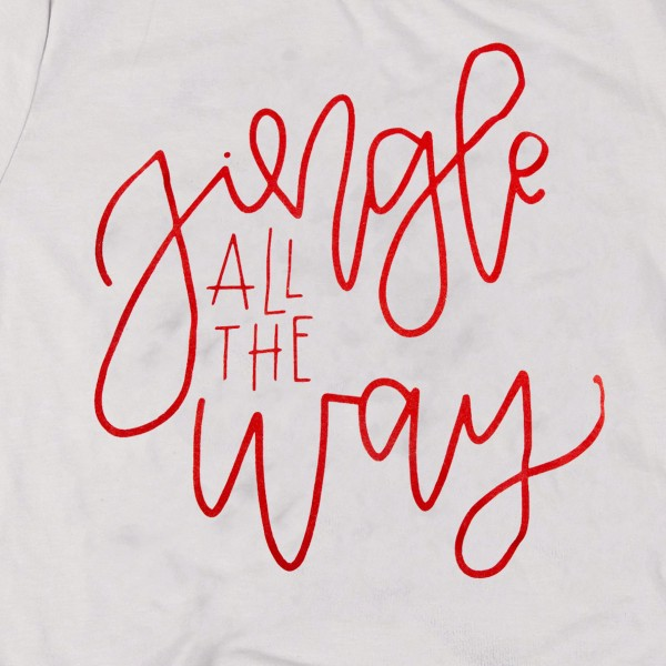 Jingle All The Way Christmas Graphic Tee.  - Printed on a Anvil Lightweight Brand Tee - Color: Silver - 6 Shirts Per Pack - 1-S / 2-M / 2-L / 1-XL - 100% Cotton