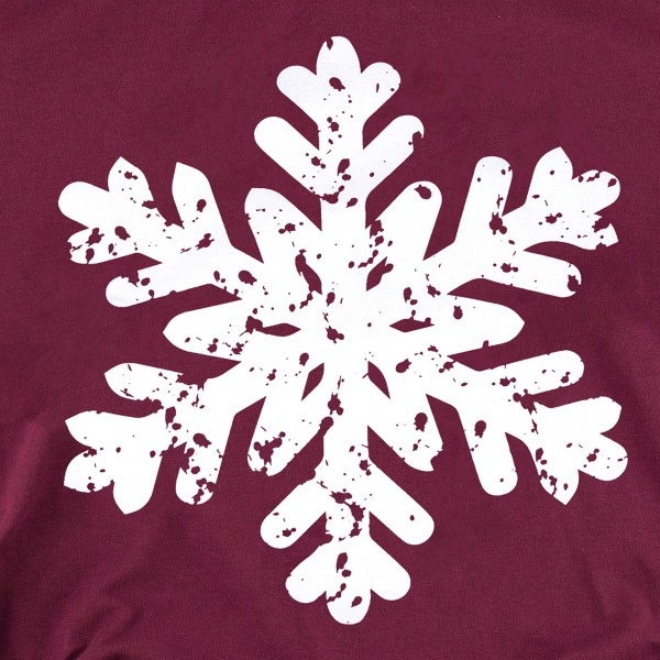 Distressed Snowflake Christmas Graphic Tee.  - Printed on a Anvil Lightweight Brand Tee - Color: Maroon  - 6 Shirts Per Pack - 1-S / 2-M / 2-L / 1-XL - 100% Cotton
