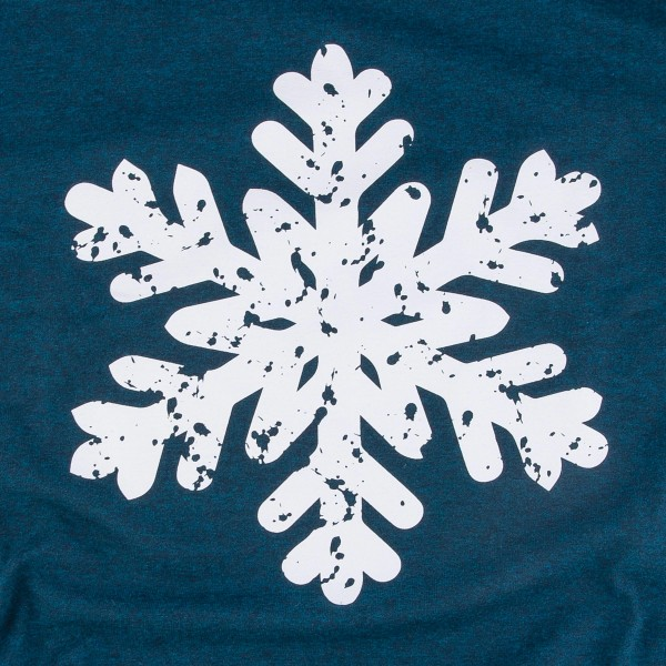 Distressed Snowflake Christmas Graphic Tee.  - Printed on a Gildan Heavy Cotton Brand Tee - Color: Midnight Blue - 6 Shirts Per Pack - 1-S / 2-M / 2-L / 1-XL - 100% Cotton