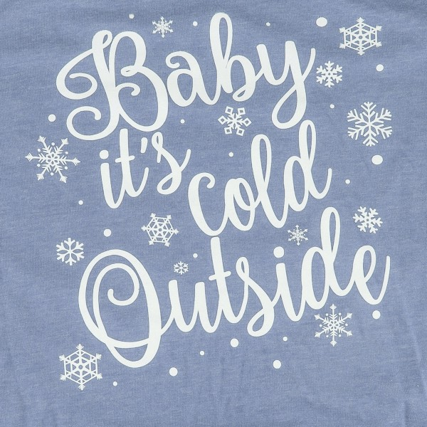 Baby It's Cold Outside Christmas Print Graphic Tee.  - Printed on a GIldan Ultra Cotton Brand Tee - Color: Denim Blue - 6 Shirts Per Pack - 1-S / 2-M / 2-L / 1-XL  - 50% Cotton / 50% Polyester
