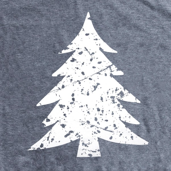 Distressed Christmas Tree Graphic Tee.  - Printed on a Gildan Softstyle Brand Tee - Color: Grey - 6 Shirts Per Pack - 1-S / 2-M / 2-L / 1-XL  - 65% Polyester / 35% Cotton