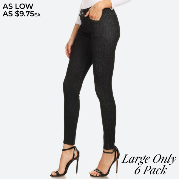 "Women's Classic Black Skinny Jeggings. (6 Pack) (M/L ONLY)  • Full length jeggings featuring a light sheen and jean-style • Lightweight, breathable cotton-blend material • Belt loops with 5 functional pockets • Shake Head Button • Super Stretchy • Pull up Style  - 6 Pair Per Pack - Size: ALL 6 - M/L - Inseam approximately 29"" L - 70% Cotton / 25% Polyester / 5% Spandex"