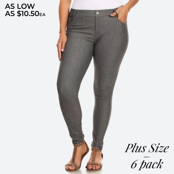 "Women's Classic Plus Size Skinny Jeggings.  • Full length jeggings featuring a light sheen and jean-style construction • Lightweight, breathable cotton-blend material for all day comfort • Belt loops with 5 functional pockets • Shake Head Button • Super Stretchy • Pull up Style  - Pack Breakdown: 6pcs/pack - Size: 2-XL / 2-XXL / 2-XXXL - Inseam approximately 29"" L - 70% Cotton / 25% Polyester / 5% Spandex"