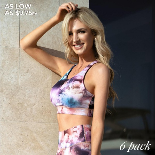Women's Active High Impact Tie-Dye Sports Bra. (6 Pack) (Bra ONLY)  • Scoop neckline • Tie-dye print all over • Reinforced elastic band • Racerback design • Two removable pads provide support & shaping • Racerback design • Moisture wick fabric • 4-way stretch for a move-with-you feel • Perfect for low to high impact workouts • Pull Over Style  - 6 Bras Per Pack - 2-S / 2-M / 2-L  - Body: 46% Polyester, 41% Nylon, 13% Spandex - Lining: 80% Nylon, 20% Spandex, 75% Nylon, 25% Spandex
