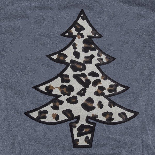 Leopard Print Christmas Tree Graphic Tee.  - Printed on a Gildan Softstyle Brand Tee - Color: Grey - 6 Shirts Per Pack - 1-S / 2-M / 2-L / 1-XL - 65% Polyester / 35% Cotton