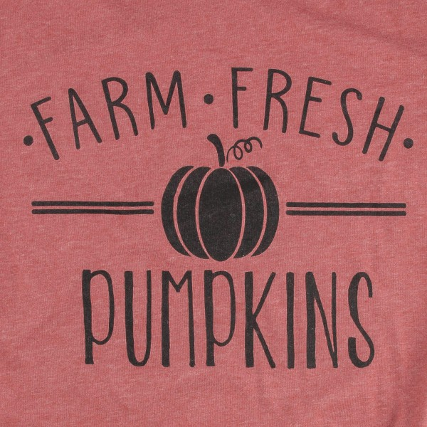Farm Fresh Pumpkins Graphic Tee. (MEDIUM ONLY)  - Printed on a Bella Canvas Tee - Color: Brick Red - 50% Cotton / 50% Polyester