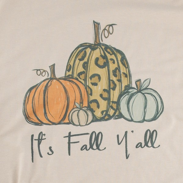 """Its Fall Ya'll"" Leopard Pumpkin Graphic Tee. (MEDIUM ONLY)  - Printed on a Gildan Dryblend Brand Tee - Color: Stone - 50% Cotton / 50% Polyester"