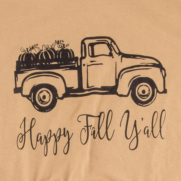 Happy Fall Ya'll Truck Graphic Tee. (LARGE ONLY)  - Printed on a Gildan Heavy Cotton Brand Tee - Color: Mustard  - 100% Cotton
