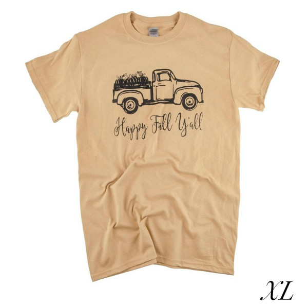 Wholesale happy Fall Ya ll Truck Graphic Tee XL ONLY Printed Gildan Heavy Cotton