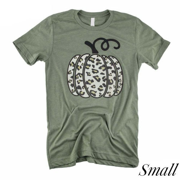 Wholesale leopard Print Pumpkin Graphic Tee SMALL ONLY Printed Gildan Softstyle