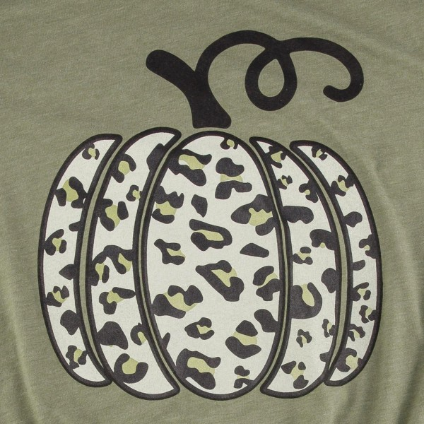 Leopard Print Pumpkin Graphic Tee. (SMALL ONLY)  - Printed on a Gildan Softstyle Brand Tee - Color: Olive - 52% Cotton / 48% Polyester