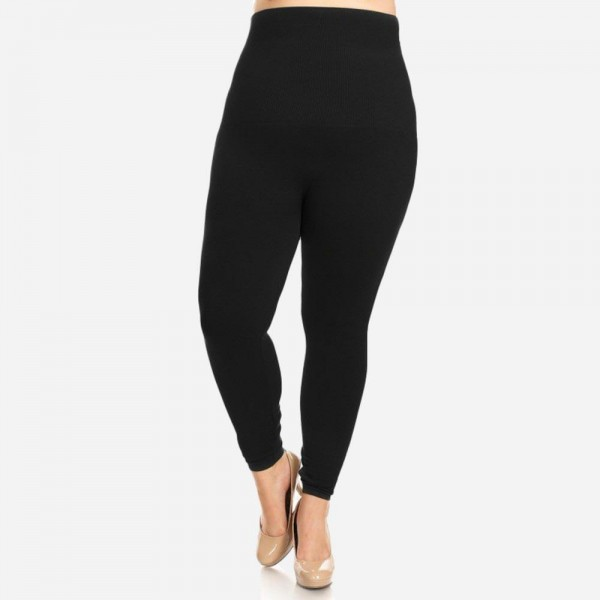 "Women's Plus Size High Waisted Cotton Compression Leggings.  • Long, skinny leg design • Does not ball or pill • Comfortable and easy pull-on style • Very Stretchy • Tummy Control • Hight Waist • 8"" Waist Band  - One size fits most plus 16-22 - 50% Cotton, 45% polyester, 5% spandex"