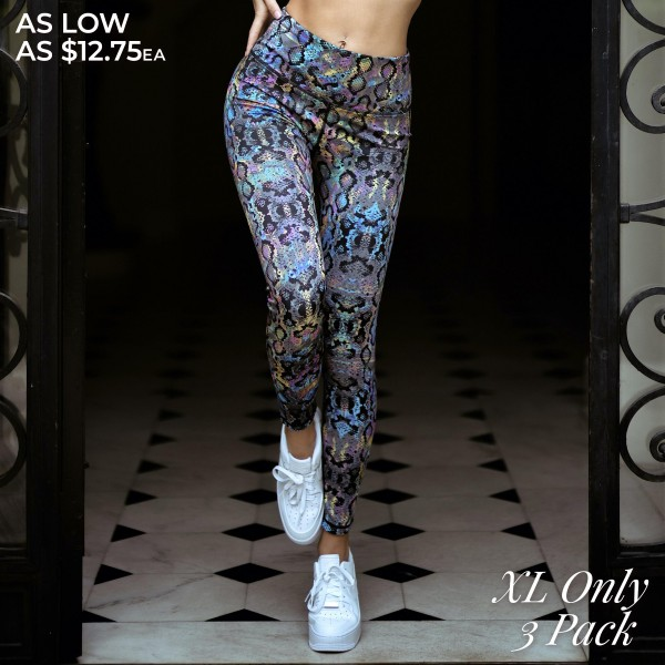 "Women's Active XL Iridescent Snakeskin Print Workout Leggings. (3 Pack) (XL ONLY)   • High rise elasticized waistband • Iridescent snakeskin print • 4-way stretch for a move-with-you feel • Flatlock seams prevents chafing • Full length design • Triangle crotch gusset eliminates camel toe • Moisture wick fabric • Second skin fits like a glove • Pull on/off styling • Imported  - 3 Pair Per Pack - Size: ALL 3 - XL ONLY - Inseam approximately 28"" Long - 46% Polyester, 41% Nylon, 13% Spandex"