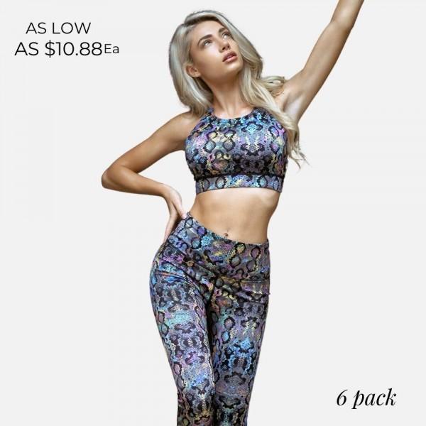 Wholesale women s Active Iridescent Snakeskin Sports Bra Pack o neckline o Iride