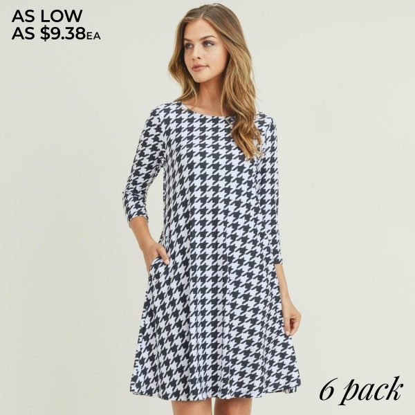 "Women's Houndstooth Print 3/4 Sleeve Dress with Pockets. (6 Pack)  • Round neckline • Houndstooth pattern • 3/4 length sleeves, round neck • Two open side pockets • Fit and flare swing silhouette • Knee length hem • Soft and stretchy • Imported  - 6 Dresses Per Pack - Sizes: 2-S / 2-M / 2-L  - Approximately 34"" Long  - 95% Polyester / 5% Spandex"