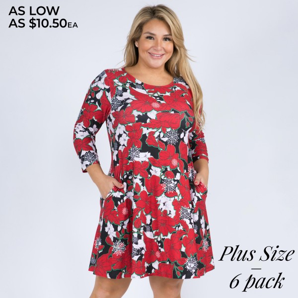 """Women's Plus Size Snowflake Poinsettia Print 3/4 Sleeve Dress with Pockets. (6 Pack)  • Round neckline • Poinsettia & snowflake print • 3/4 length sleeves, round neck • Two open side pockets • Fit and flare swing silhouette • Knee length hem • Soft and stretchy • Imported  - 6 Dresses Per Pack - Sizes: 2-XL / 2-2XL / 2-3XL - Approximately 34"""" Long - 95% Polyester / 5% Spandex"""